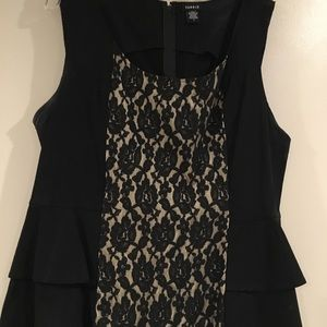 Torrid nude lace black peplum top